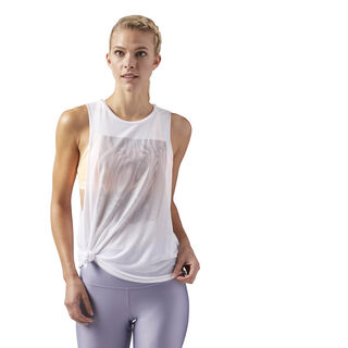 Moire Muscle Tank White CD3815