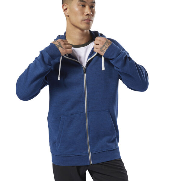 Training Essentials Marble Full Zip Hoodie Blue CY4929