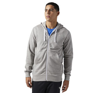 Reebok Classics French Terry Full Zip Hoodie Medium Grey Heather BQ3363