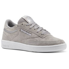 0030320d31ae1d Reebok - Reebok Club C 85 Trim Nubuck Powder Grey White Pale Pink BS9610