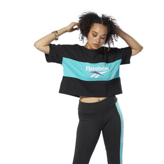 Classics Vector Crop Tee Black/Timeless Teal DX3811