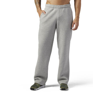 Open Hem Fleece Pant Stacked Logo Medium Grey Heather BP9079