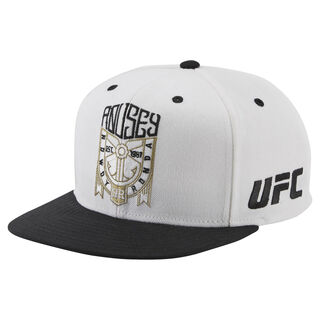 UFC Ultimate Fan Flat Brim Snapback Hat White/Black BM7296