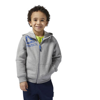 Boy's Essentials Full Zip Fleece Hoodie Medium Grey Heather BQ5144