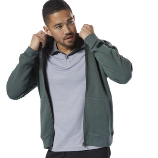 Elements Fleece Full Zip Hoodie Chalk Green D94205