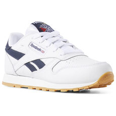 1e9e172bc57a Reebok - Classic Leather - Pre-School White   Collegiate Navy   Gum DV4568