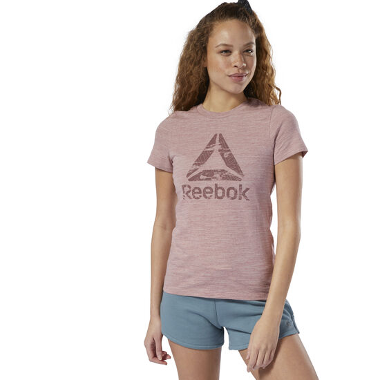 Reebok - T-shirt Training Essential marbré avec logo Smokey Rose DU9266